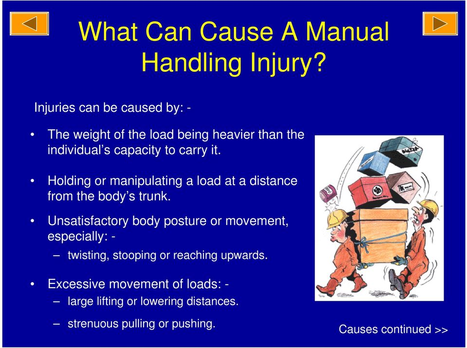 it. Holding or manipulating a load at a distance from the body s trunk.
