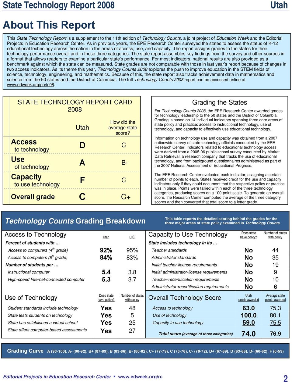 The report assigns grades to the states for their technology performance overall and in those three categories.