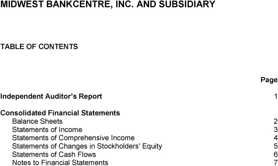 Statements of Comprehensive Income 4 Statements of Changes in