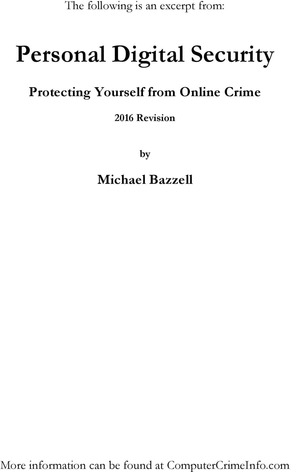 Online Crime 2016 Revision by Michael Bazzell