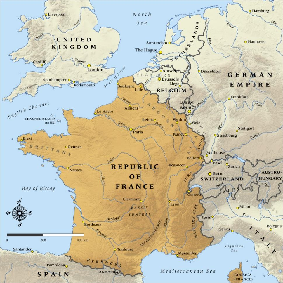 France A Republic France was twice the size of Britain and about the same size as Germany. The land was fertile, people were hardworking, had good transport and owned many colonies.