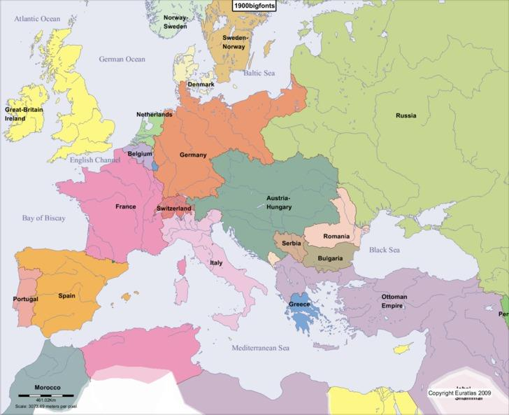 The Great Powers In 1900, Europe contained the most powerful countries in the world and was dominated by six Great Powers : Britain, Germany, France,