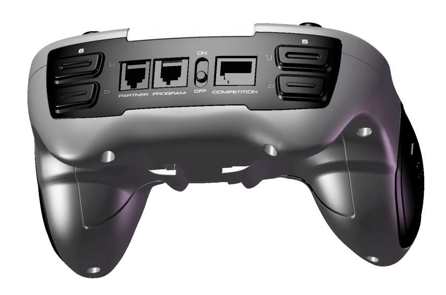 VEXnet Joystick Playstation game-style controller 8 buttons on top 2 XY analog joysticks Power switch 6 AAA rechargeable