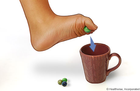 Put marbles on the floor next to a cup. Using your toes, try to lift the marbles up from the floor and put them in the cup.