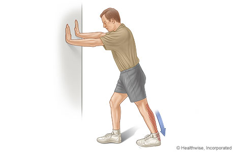 Calf Stretch This exercise stretches the muscles at the back of the lower leg (the calf) and the Achilles tendon. Do this exercise 3 or 4 times a day, 5 days a week.