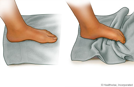 For the towel curl exercise: While sitting, place your foot on a towel on the floor and scrunch the towel toward you with your toes. Then, also using your toes, push the towel away from you.