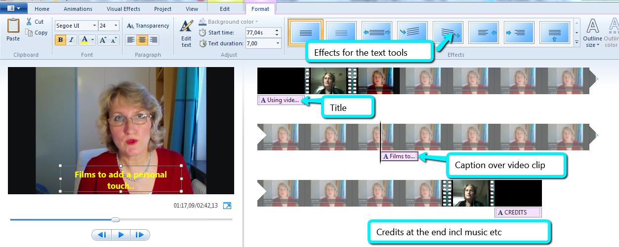 6. To add Captions and Credits you click on the Home tab to get back to the text tools options.