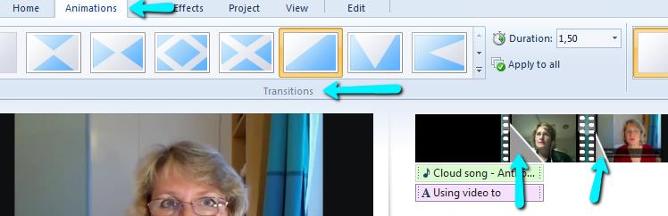 Adding transitions between video clips 14. Since you have 3-4 video clips with different group members telling their tip for videos in teaching you may want to add a transition between each presenter.