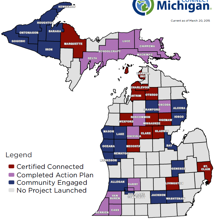 and use of technology and broadband throughout the community Achieve Connected Certification Connect Michigan s community outreach and education programs, policy analysis, and broadband