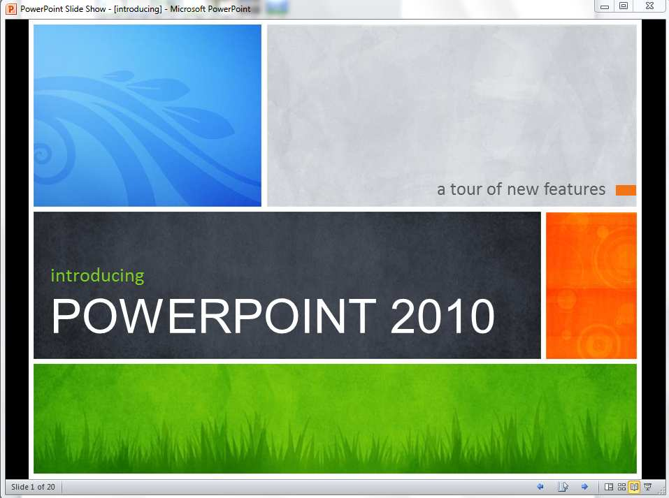 The Reading View is new in PowerPoint 2010.