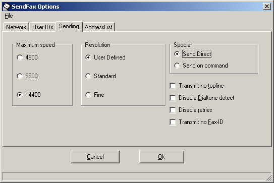 2.7 Send a fax later The sending of faxes can be postponed to a later time. This can be used to send the faxes at a later time against lower rates. Select Settings in the menu. Select SendFax Options.
