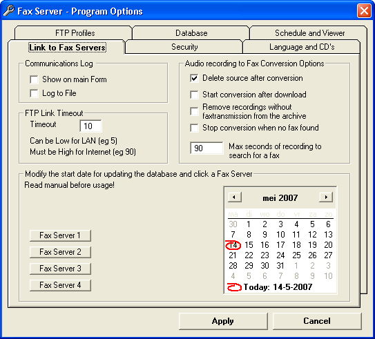 3.24.4 Link to FaxServers The Archive application can keep a record of the FTP communication that takes place with the Fax Servers in a log file.