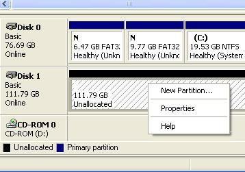 STEP 3: Right-click on Unallocated and