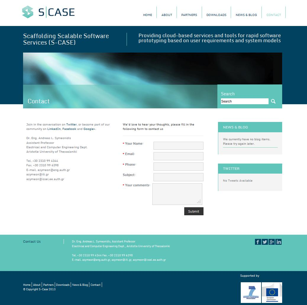 The S-CASE contact page contains links to the S-CASE web 2.0 channels and information about the project coordinator.
