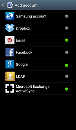 Adding Microsoft Exchange ActiveSync Email Accounts From the Home screen, touch Menu > Settings > Add account > Microsoft Exchange ActiveSync.