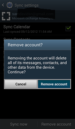 2. Touch Remove account. 3. Confirm you would like to delete this account by touching Remove account.