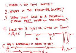 Seismic Waves What if you want to find the distance to an epicenter? - Use a time-travel travel-graph graph. - It shows the average travel times for P and S waves. 1.