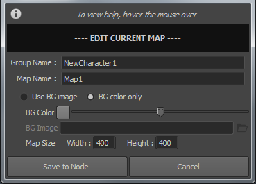 7. Edit Map Dialog Editing Map from Edit Map Dialog Fill out the following options then click Save to Node Saving Map to File from Edit Map Dialog Fill out the following options if necessary, then
