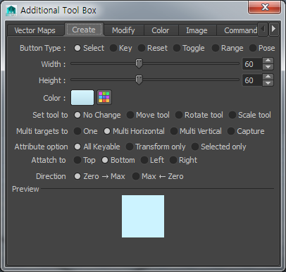 8-2. Additional Toolbox:: Create Common Options Type Specific Options Template Button in Preview Create Dialog Tab Locus Picker provides 6 types of buttons.