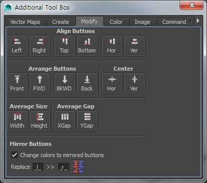 8-3. Additional Toolbox:: Modify Modify Dialog Tab Tools in Modify dialog lets you: Align buttons Arrange buttons in depth Center buttons in a map Set an average scale to buttons.
