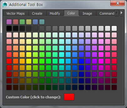8-4. Additional Toolbox:: Color Color Swatches Custom Color Swatch Color Dialog Tab Color tab dialog provides color swatches for you to choose and change color of a button or a map.