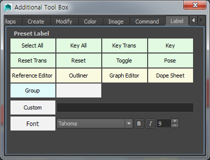 8-7. Additional Toolbox:: Label Label Templates Custom Label Font Change Label Dialog Tab Label dialog provides various label templates for user to drag and drop onto a button to change its label
