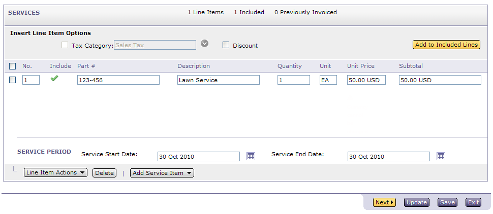4 Service Invoices Use Add Service Item button in Services section of the Invoice to create an invoice for Service