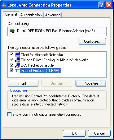 Wireless Router User Guide Checking TCP/IP Settings - Windows XP 1. Select Control Panel - Network Connection. 2. Right click the Local Area Connection and choose Properties.