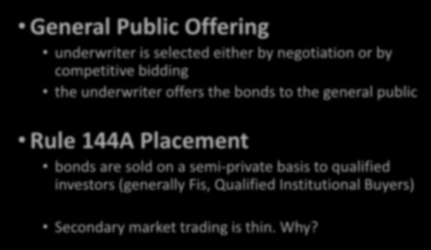 Primary Market Placement Choices for Munis General Public Offering underwriter is selected either by negotiation or by competitive bidding the underwriter offers the bonds to the general