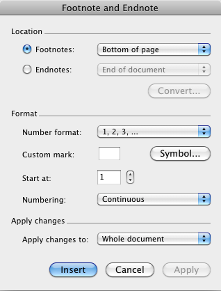 INSERTING FOOTNOTES AND ENDNOTES You can insert footnotes or endnotes as needed into your dissertation. You can use the method below, or you may want to explore the use of EndNote or RefWorks.