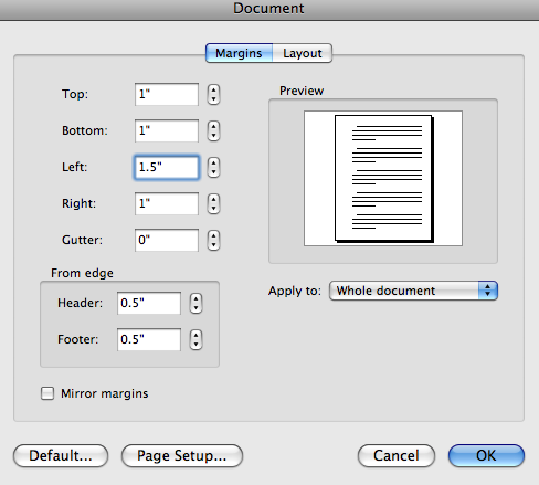 SETTING MARGINS Rackham guidelines require a 1 margin on the top, bottom, and right side of each page, and a 1.5 margin on the left side of each page. 1. Go to the Format menu, choose Document and then make sure you are in the Margins tab.