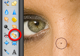 Blemish Removal You may want to enlarge the image on your screen to fit the entire Pixlr window. To do this, click on the Magnifying Glass tool shown in the image above.