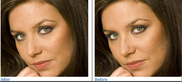 Remove Blemishes - Clone Stamp Tool Select the Clone Stamp tool. Click on the Brush link at the top of the window and select a suitable size of brush.