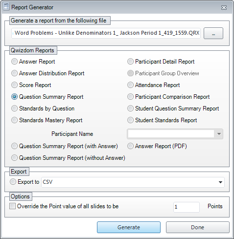 STEP 3: Click on the Reporting Wizard to view additional reports. Reports in left column are class-wide reports. Reports in right column are individual student reports.
