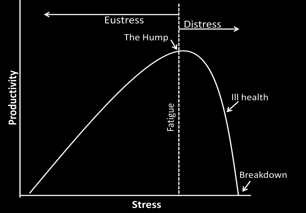 Stress 9 thereafter. Both extremes, too little or too much stress, are disadvantageous.