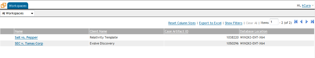 Once logged in, a list of cases you have rights to will be displayed. Click on the case name to access it.