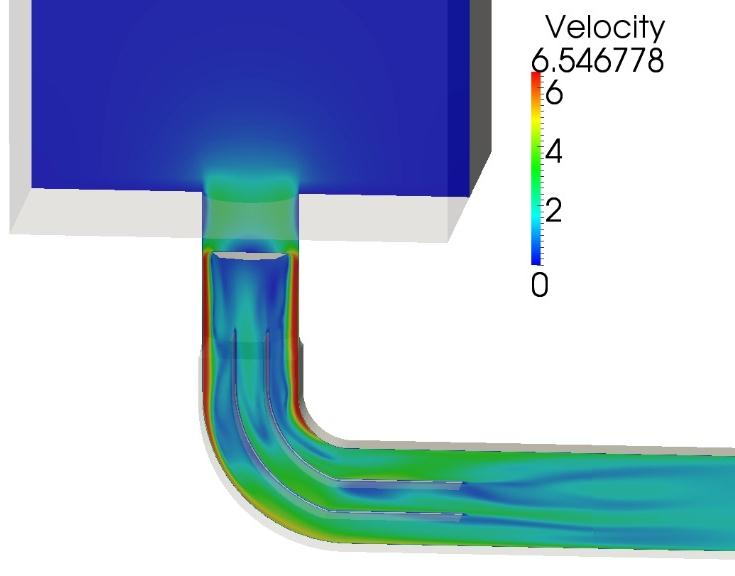 3D numerical investigation Chalmers University of Technology FOAM-extend 3.1. No turbulence model. Constant volume flow Q=0.05 m3/s.