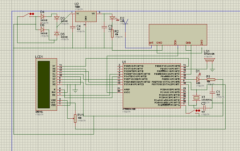 b) Receiving Section Figure 5: Simulated Circuit Diagram Of Receiving Section XI. RESULTS The calibrated pressure and temperature data measurements are being observed and displayed on the LCD Screen.