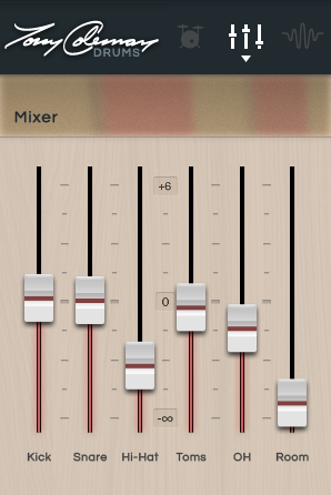 Mixer Click the faders icon to see the Mixer view, which lets you adjust the volume levels of the virtual microphones of the current preset.