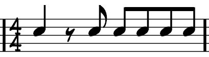 This next example is again effectively the exact same musically in drum terms: 1 (and 2) and 3 and 4 and Here we have started the bar with a quarter note plus one 8 th note rest.