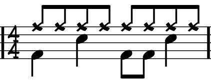 Bass Snare Bass Snare This piece is in 4/4 again. Each bar is the length of four quarter notes.
