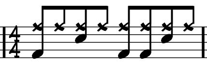 We can hear the pulse on 1, 2, 3 and 4 whilst counting the 8 th notes in between. This beat can be notated in a number of ways.