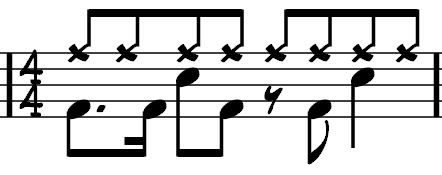 Next we will place these 16 th notes into a drum beat context.