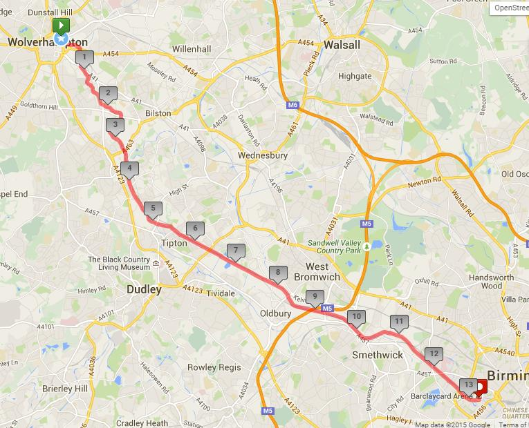 The course The route takes runners from Wolverhampton to Birmingham along canal tow-paths.