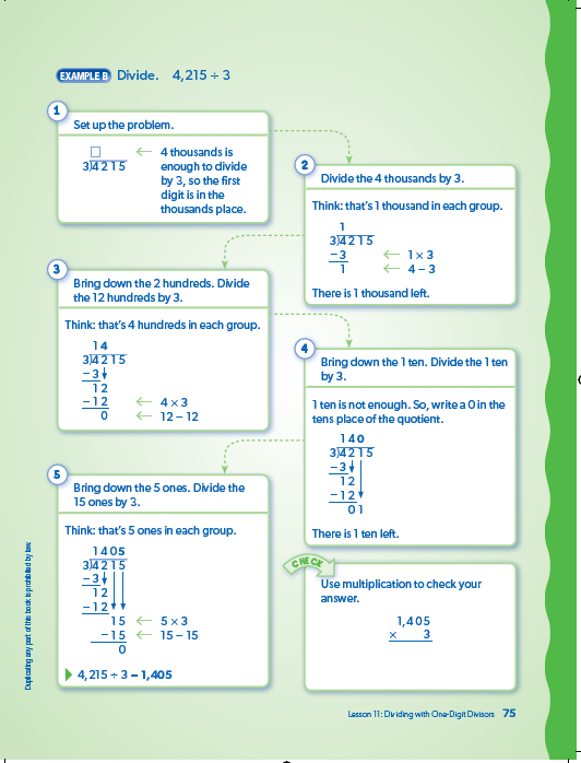 Math - Concept Lesson Skill Pages Lessons will have 2, 3, or 4 page skill pages Examples model strategies that students can use to solve problems Steps