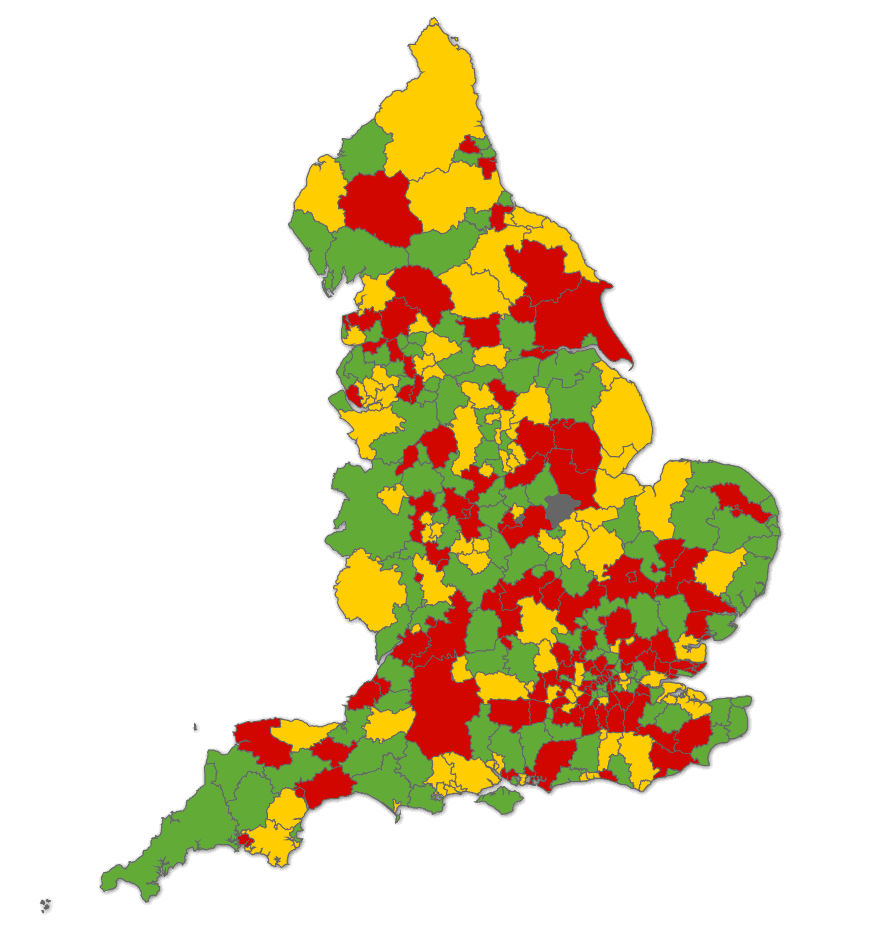 Figure 2: Map of local authorities in England, grouped by affordability of 25 th percentile rent compared to maximum Local Housing Allowance, 2 bedroom homes Key: Largely unaffordable Maximum LHA is