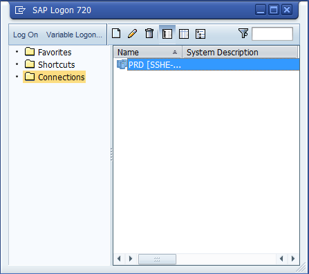 SAP Log On In order to be able to log into the SAP system you should have the following icon on your desktop.