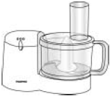 Q6. The picture shows a food processor, which is used to grate, shred, liquidise and mix food. The table gives some information about the food processor.