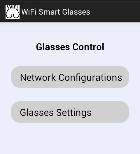 4. Click Glasses Control to show the menu pictured