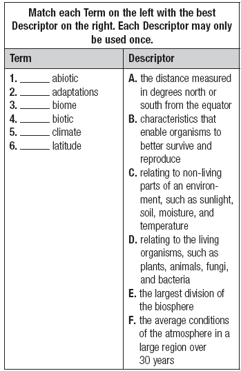 Use with textbook pages 8 28. Biomes Circle the letter of the best answer. 7. A biome is best represented by a: A. river B. city C. latitude D. desert 8.